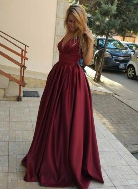 2020 Cheap A-Line/Princess Satin Burgundy Prom Dresses