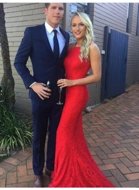 Red Charming Trumpet/Mermaid Lace 2020 Backless Prom Dresses
