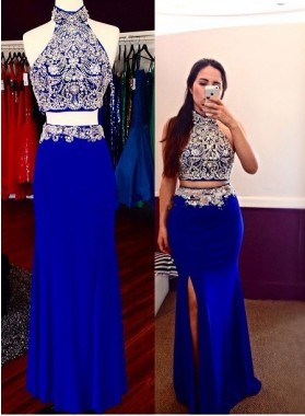 2020 Sheath Royal Blue Two Pieces Beaded Prom Dresses