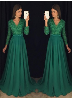 2021 Chiffon A-Line/Princess Hunter V Neck Long Sleeves Prom Dresses
