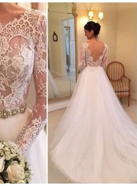 2020 Nice A Line Long Sleeves Backless Lace Wedding Dresses