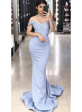Charming Trumpet/Mermaid Off The Shoulder Light Sky Blue 2019 Prom Dresses