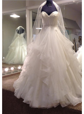 2020 New Arrival A Line Sweetheart Organza Ruffles Beaded Wedding Gown