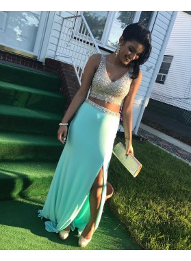 2019 Charming Mint Green Two Pieces Beaded Side Slit Prom Dresses