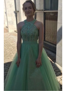 Cheap Tulle Sage Ball Gown 2019 Prom Dresses
