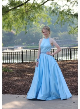 Elegant 2019 A-Line/Princess Satin Blue Prom Dresses