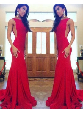 2019 Sexy Trumpet/Mermaid Red Satin Prom Dresses