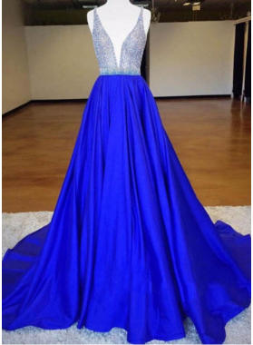 A-Line/Princess Royal Blue Satin 2021 Prom Dresses