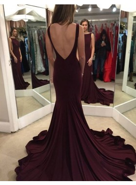 Perfect 2020 Satin Burgundy Trumpet/Mermaid Prom Dresses Backless