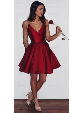 Cute A-Line/Princess Satin Red Knee Length V Neck Short 2020 Prom Dresses