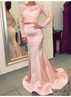 Charming Trumpet/Mermaid Satin Two Pieces Long Sleeves 2021 Prom Dresses