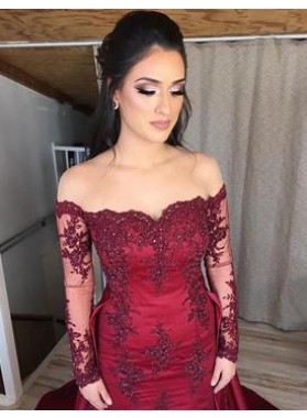 Long Sleeves Burgundy Off The Shoulder 2019 Prom Dresses