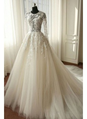 2021 Newest A Line Long Sleeves Tulle Wedding Dresses With Appliques
