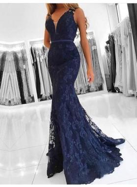 Trumpet/Mermaid Dark Navy Lace 2019 Prom Dresses