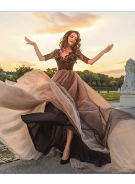 2019 A-Line/Princess Black Long Sleeves Prom Dresses