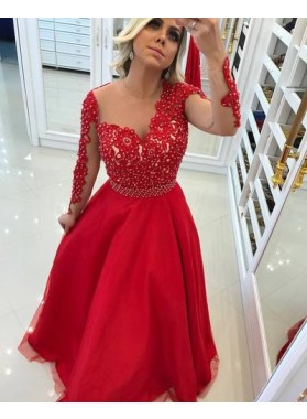 Cheap A-Line/Princess Tulle Red Long Sleeves Prom Dresses