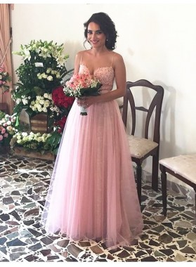 Cheap Sweetheart A-Line/Princess 2019 Tulle Pink Prom Dresses