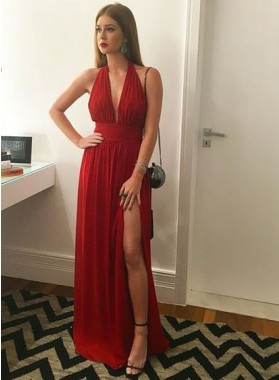 Cheap A-Line/Princess Red Chiffon Side Slit 2021 Prom Dresses