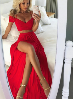 Cheap A-Line/Princess Red Two Pieces Side Slit 2021 Prom Dresses