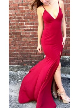Charming Red Sheath Side Split 2019 Prom Dresses