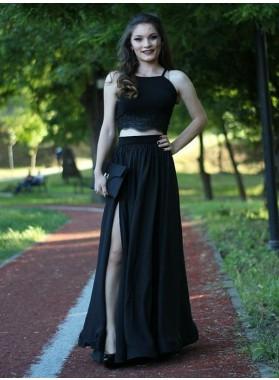 2020 Cheap A-Line/Princess Side Split Black Two Pieces Prom Dresses