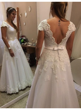 Cheap A Line Capped Sleeves 2021 Lace Wedding Dresses