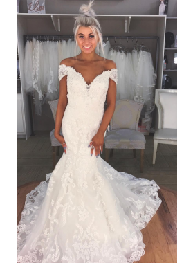 2020 Sexy Mermaid Off The Shoulder Sweetheart Lace Wedding Dresses