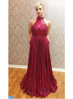 2021 A-Line/Princess Red Sequence Jewel Prom Dresses