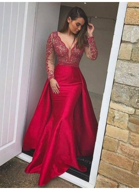 New Arrival Red Long Sleeves Trumpet/Mermaid Satin 2021 Prom Dresses