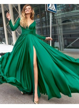 Elegant A-Line/Princess Long Sleeves Emerald Side Split 2021 Prom Dresses