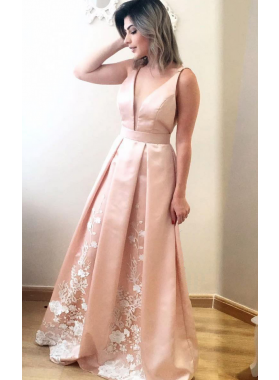 2021 Cheap A-Line/Princess Satin Pearl Pink V Neck Prom Dresses