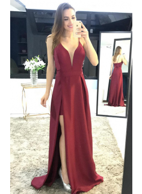 Cheap A-Line/Princess Satin Burgundy 2019 Prom Dresses