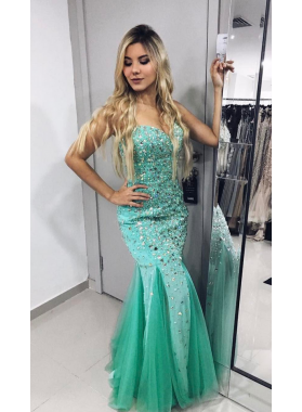 Trumpet/Mermaid Mint Green Sweetheart Tulle Beaded 2019 Prom Dresses