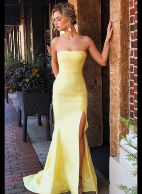 2019 Elegant Satin Sheath Strapless Daffodil Prom Dresses
