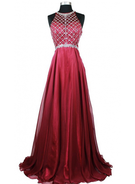 Cheap A-Line/Princess Chiffon Burgundy Beaded 2021 Prom Dresses