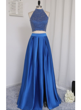 2021 New A-Line/Princess Satin Royal Blue Two Pieces Prom Dresses