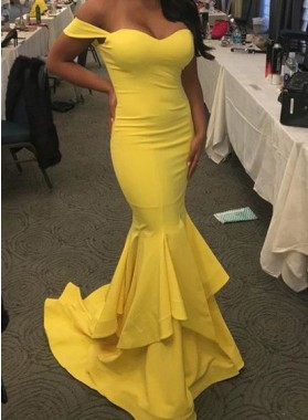 Sexy Trumpet/Mermaid Sweetheart Daffodil Prom Dresses 2021