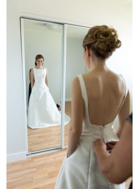 2020 Simple A Line Satin Buttons Backless Wedding Dresses