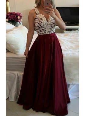 A-Line/Princess Satin Burgundy 2019 Prom Dresses With Bead
