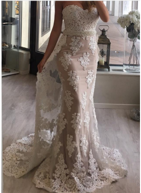 New Arrival Sheath Sweetheart Tulle With Appliques Champagne 2019