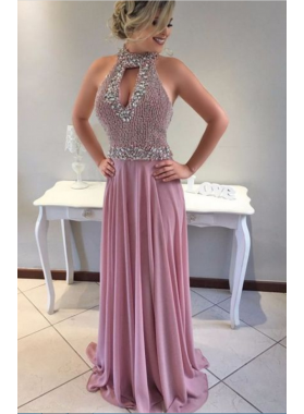 Cheap Chiffon A-Line/Princess Beaded 2019 Prom Dresses