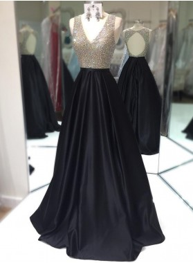 Elegant A-Line/Princess Satin Black Beaded V Neck 2020 Prom Dresses