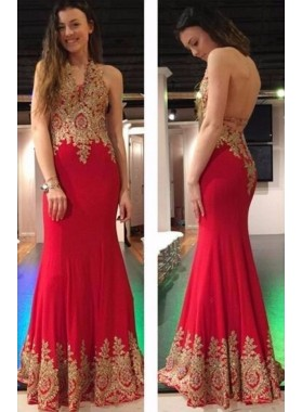 Charming Red Sheath Backless 2019 Prom Dresses With Appliques