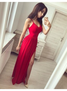 A-Line/Princess Sweetheart Red Side Slit Chiffon 2019 Prom Dresses
