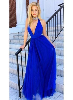 2020 A-Line/Princess Deep V Neck Royal Blue Tulle Prom Dresses