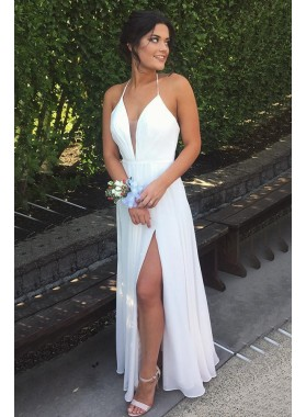 Cheap A-Line/Princess Chiffon White Sweetheart 2020 Prom Dresses