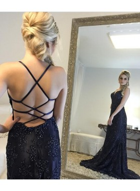 2019 Sheath Backless Dark Navy Sweetheart Prom Dresses