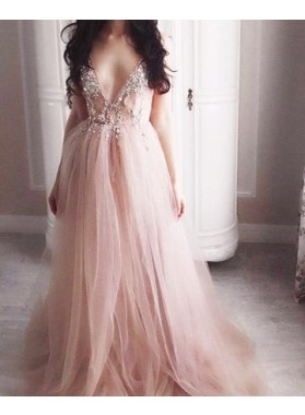 Cheap A-Line/Princess Tulle Dusty Rose Backless 2019 Prom Dresses