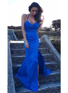 Sheath Satin Royal Blue Sweetheart 2019 Prom Dresses