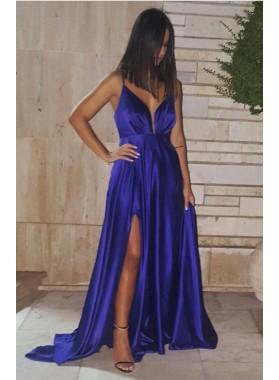Cheap A-Line/Princess Royal Blue Sweetheart Satin Slit 2019 Prom Dresses